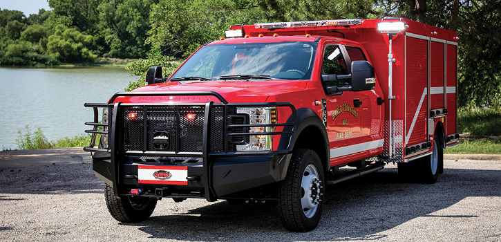 Baker Township Fire Department No. 1 in Crawford County, Kansas, took delivery of this light walk-around rescue built by Weis on a Ford F-550 four-door chassis. The 144-inch-long body is fabricated of 3⁄16-inch aluminum plate.