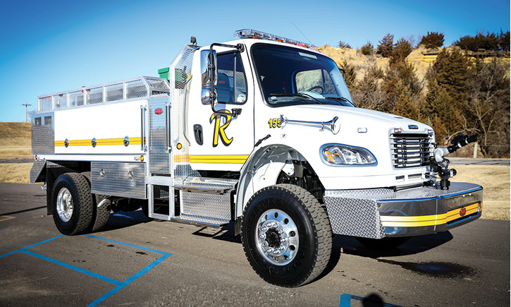 Ray, North Dakota, took delivery of this 1,000-gallon Stallion tanker on a two-door Freightliner chassis. It has an extended bumper with a monitor and interestingly no ground sweep nozzles.