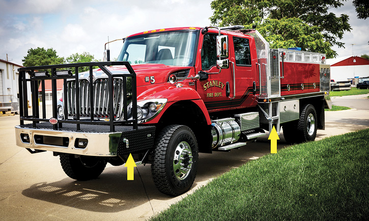 Stanley, North Dakota, runs this 1,000-gallon Stallion tanker on a four-door crew cab International chassis. It has mid-body ground sweep nozzles and an extended front bumper with two additional ground sweep nozzles.