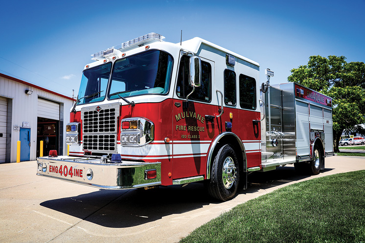 Another Kansas Toyne delivery by Weis went to Mulvane Fire Rescue. It has a top-mount 1,500-gpm pump and a 1,000-gallon tank on a Spartan chassis with double high side compartments and slide-in ladder storage at the rear.