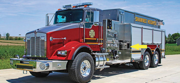 Weis delivered this Toyne tanker to Shawnee Heights in Tecumseh, Kansas. It has a 1,500-gpm pump and a 3,000-gallon tank mounted on a Kenworth two-door tandem chassis. A unique feature is the location of the side tank dump valves on each side immediately aft of the pump house. There's a right-side powered rack for a portable tank, a rear dump valve, and rear slide-in ladder storage.