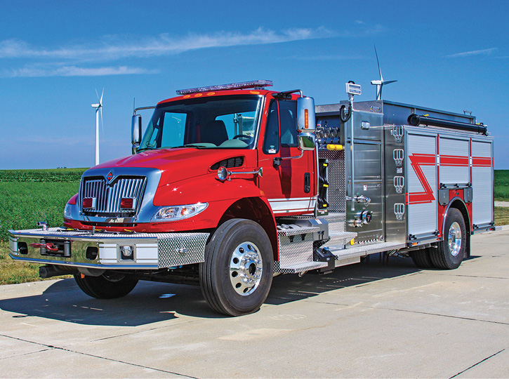 Humboldt, Kansas, took delivery from Weis of this 1,250-gpm pumper with a 1,250-gallon tank on a two-door International chassis. It has double high side compartments, and rear slide-in ladder storage and the booster reel is mounted in the upper portion of the rear step compartment.