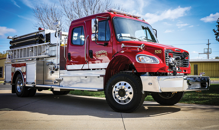 Weis delivered this Toyne on a four-door Freightliner to the City of Stockton, Kansas. It has high left- and low right-side compartments, slide-in ladder storage at the rear, an extended front bumper with a monitor, a floor-mounted booster reel in the rear compartment, a 1,250-gpm pump, and a 1,250-gallon tank.