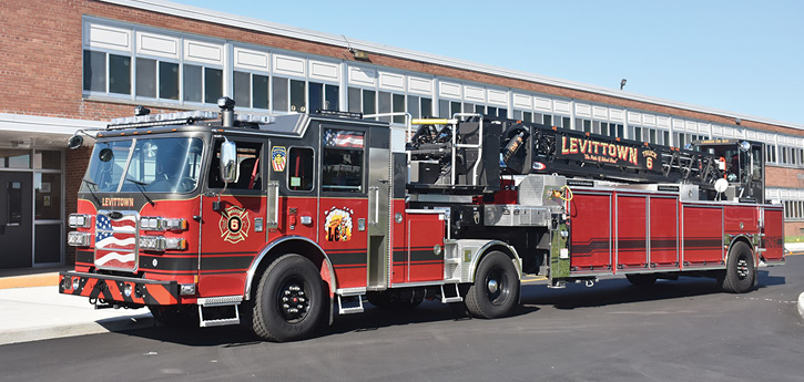 The Levittown (NY) Fire Department's 2019 Pierce Enforcer Ascendant 102-foot TDA. (Photos by author.)