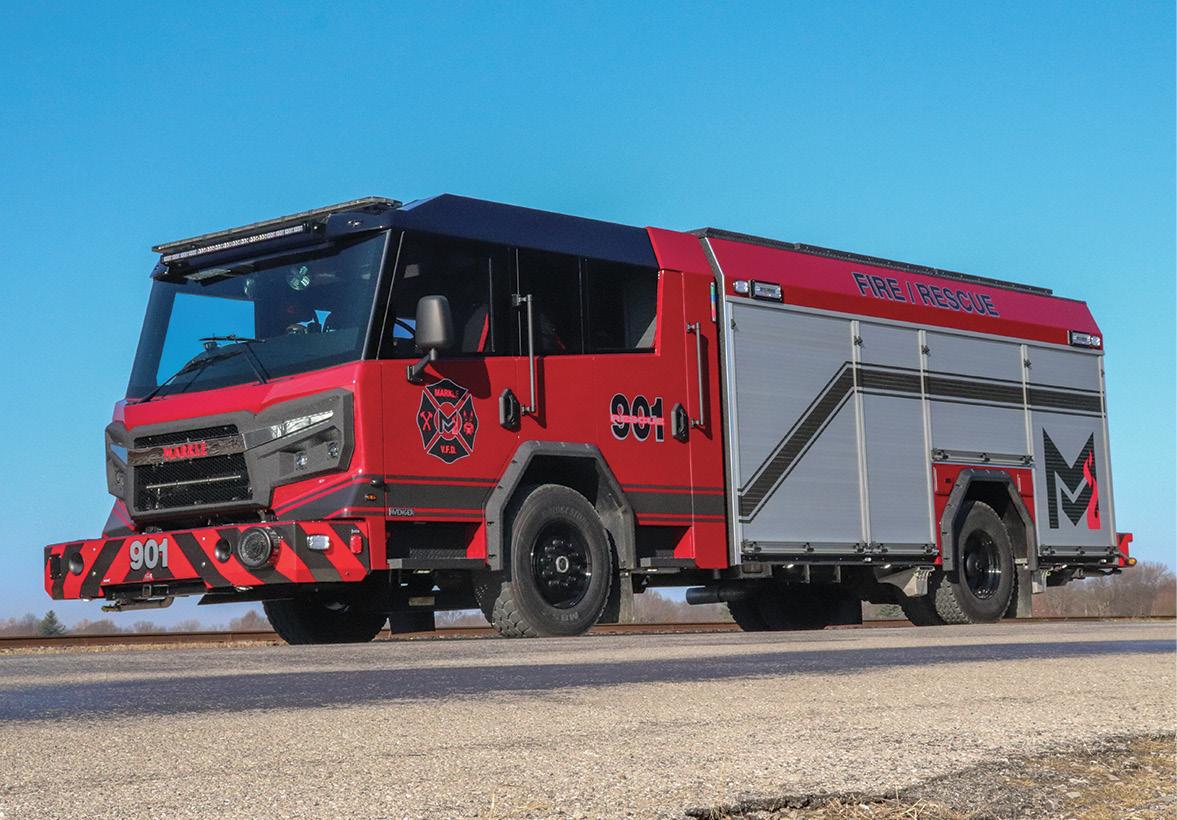 Rosenbauer—Markle (IN) Fire Department pumper. Rosenbauer Avenger R7011 cab and chassis; Cummins L9 450-hp engine; Rosenbauer N Series PTO 1,500-gpm pump; Pro Poly 750-gallon polypropylene water tank; 30-gallon foam cell; FoamPro Pneumax model 200-P CAFSystem™ Class A foam system; lever bank pump controls; rear bumper crosslays; low hosebed. Dealer: Todd Roempagel, Sentinel Emergency Solution, Arnold, MO.
