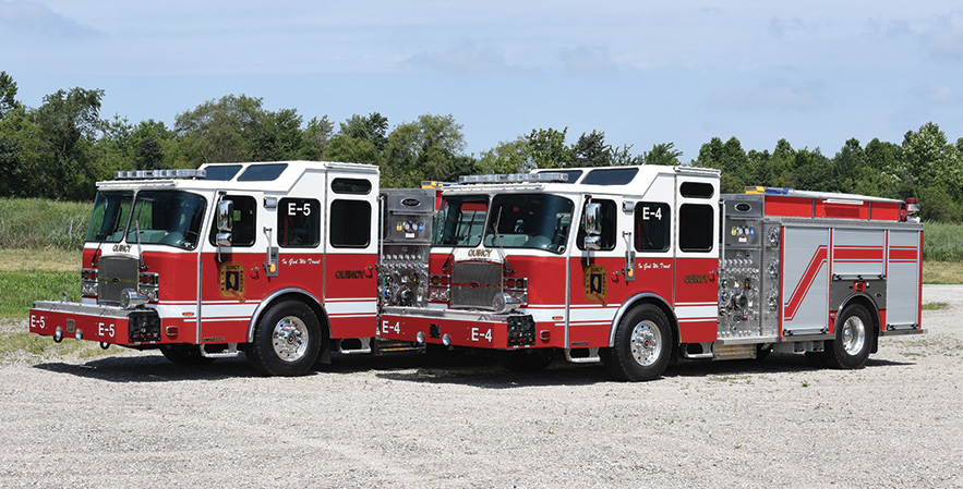 E-ONE—Quincy (IL) Fire Department, pumpers (2). Typhoon X cabs and chassis; Cummins L9 450-hp engines; Waterous CS 1,250-gpm pumps; UPF Poly 500-gallon water tanks; 25-gallon foam cells; hinged aluminum hosebed covers. Dealer: Craig Hamrick, Banner Fire Equipment, Roxanna, IL. (Photo by Dennis Maag.)