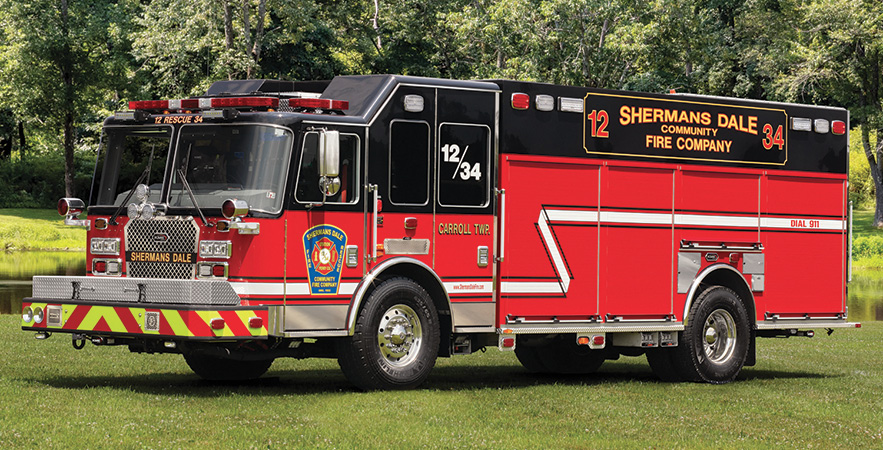 KME—Shermans Dale (PA) Community Fire Company pumper. severe service cab and chassis; Cummins X15 565-hp engine; Darley LDM 1,000-gpm pump; 725-gallon polypropylene water tank; 50-gallon foam cell; Feecon AP 1.5 around-the-pump foam system; Harrison 20-kW generator; ASA Voyager camera system. Dealer: Bob Miller, KME PA.