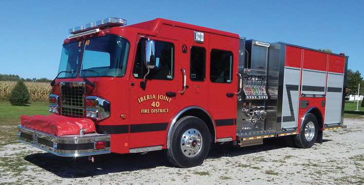 Alexis—Iberia (OH) Joint Fire District pumper. Spartan Metro Star cab and chassis; Cummins L9 400-hp engine; Waterous CX 1,500-gpm pump; 1,000-gallon polypropylene water tank; heavy-duty stainless-steel body and subframe; Ziamatic electrically controlled ladder rack. Dealer: Jeff Huber, 911 Fleet & Fire, Florence, KY.