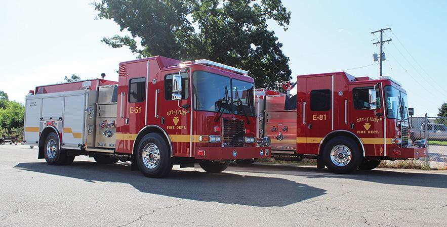 HME Ahrens-Fox—Flint (MI) Fire Department pumpers (2). HME Ahrens-Fox Silver Fox rescue-pumpers. HME Ahrens-Fox 1871 SFO-MFD cabs and chassis; Cummins L9 330-hp engines; Hale Qflo Plus 1,250-gpm pumps; UPF Poly 1,000-gallon water tanks. Dealer: Matt Creech, Kodiak Emergency Vehicles, Grand Ledge, MI.