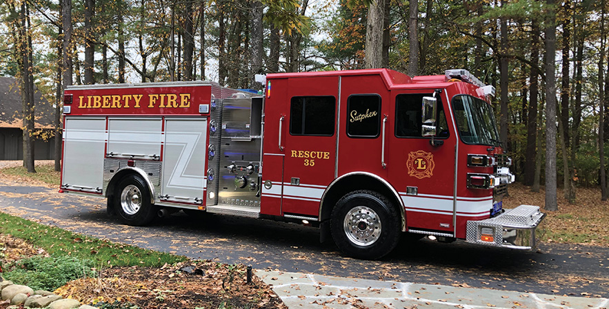 Sutphen—Liberty Township Fire Department, Youngstown, OH, rescue-pumper. Monarch cab and chassis; Cummins L9 450-hp engine; Hale Qmax 1,500-gpm pump; UPF Poly 1,000-gallon water tank; coffin storage compartments; Federal Signal warning lights. Dealer: Ray Capezzuto, Herb Fire Equipment, Powell, OH.
