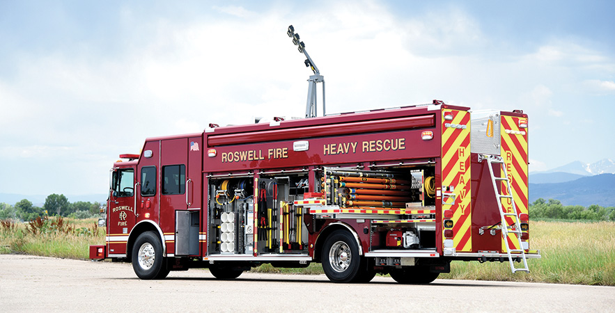 SVI Trucks—Roswell (GA) Fire Rescue rescue. Sutphen Monarch cab and chassis; Cummins X12 500-hp engine; 22-foot partial walk-in rescue body; Command Light Knight Series 2 light tower; Onan Protec 15-kW PTO generator; Resolve Space Saver fill station; OnScene heavy duty cargo slides with LED compartment lighting. Dealer: Williams Fire Apparatus, Ashland, AL.