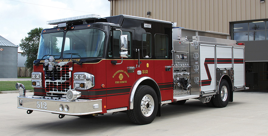 Toyne—Whispering Pines (NC) Fire Rescue pumper. Spartan Metro Star cab and chassis; Cummins L9 450-hp engine; Waterous CSU 1,500-gpm pump; UPF Poly 1,000-gallon water tank; Onan 6-kW generator; stainless steel fire body; Elkhart Stinger 2.0 monitor. Dealer: Tracy Melton, Melton Fire Group, West Jefferson, NC.