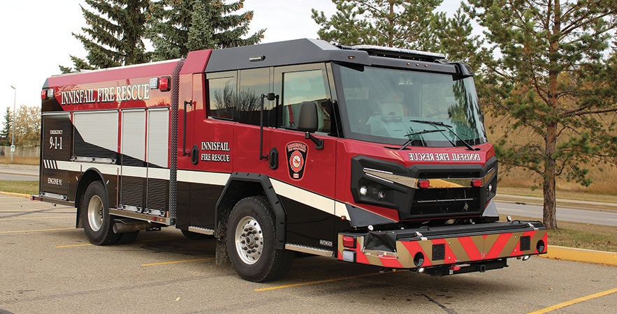 Rosenbauer—Innisfail Fire Rescue, Innisfail, Alberta, Canada, pumper. Avenger cab and chassis; Cummins L9 450-hp engine; Rosenbauer N 1,250-gpm pump; UPF Poly 1,000-gallon water tank; 100-gallon foam cell; FRC Turbo Foam single-agent foam system; Rosenbauer EZ Climb rear ladder. Dealer: Rocky Mountain Phoenix, Red Deer, Alberta.