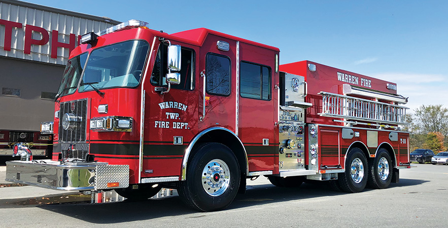 Sutphen—Warren Township Fire Department, pumper-tanker. Monarch cab and chassis; Cummins L 450-hp engine; Waterous CSU 1500-gpm pump; Pro Poly 2,500-gallon polypropylene water tank; three Newton 10-inch square dump valves; stainless steel fire body; Whelen LED scene and warning lights. Dealer: Paul Werner, Herb Fire Equipment, Powell, OH.
