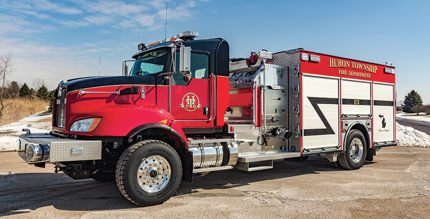Spencer Manufacturing—Huron Township Fire Department, New Boston, MI, pumper. Kenworth T470 cab and chassis; Paccar PX9 400-hp engine; Hale Qmax XS 1,500-gpm pump; UPF Poly 1,000-gallon water tank; Dealer: Kodiak Emergency Vehicles, Grand Ledge, MI.