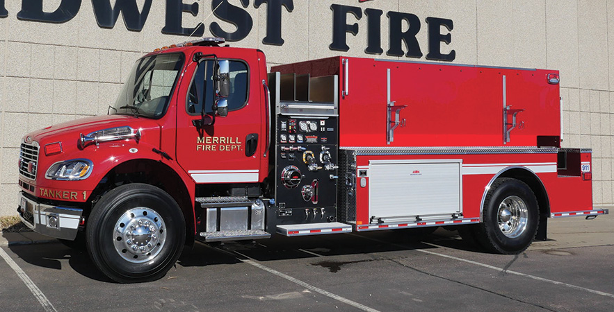 """Midwest Fire—Merrill (IA) Fire & Rescue tanker-pumper. Freightliner cab and chassis; Cummins L9 350-hp engine; Darley LSP 1,000-gpm pump; UPF Poly 2,000-gallon water tank; 3 Newton 10-inch stainless steel manual dump valves; stainless steel """"tip down"""" portable tank carrier and 2,100-gallon portable tank; Rear View Safety rear-view camera. Dealer: Jeff Bowen, Midwest Fire, Luverne, MN."""