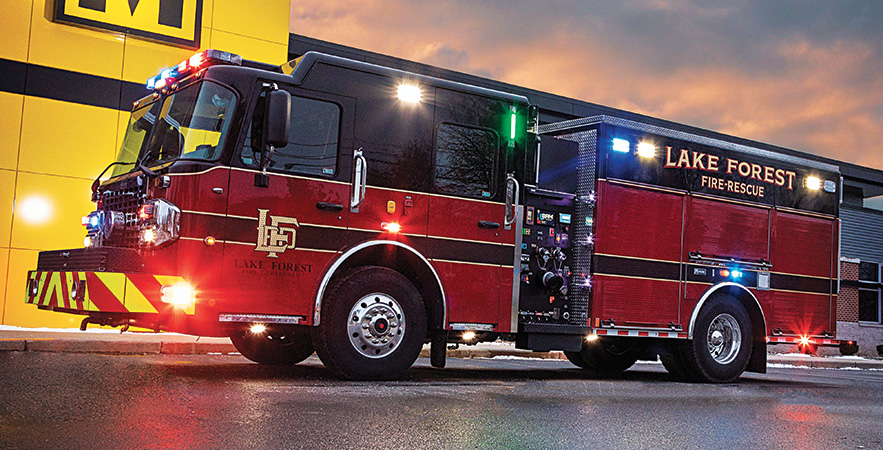 Marion—Lake Forest (IL) Fire Department pumper. Spartan Gladiator cab and chassis; Cummins L9 450-hp engine; Hale Qmax with SAM 1,500-gpm pump; UPF Poly 850-gallon water tank; 30-gallon foam cell. Dealer: Tony Carlini, TC Fire Apparatus, Aurora, IL.