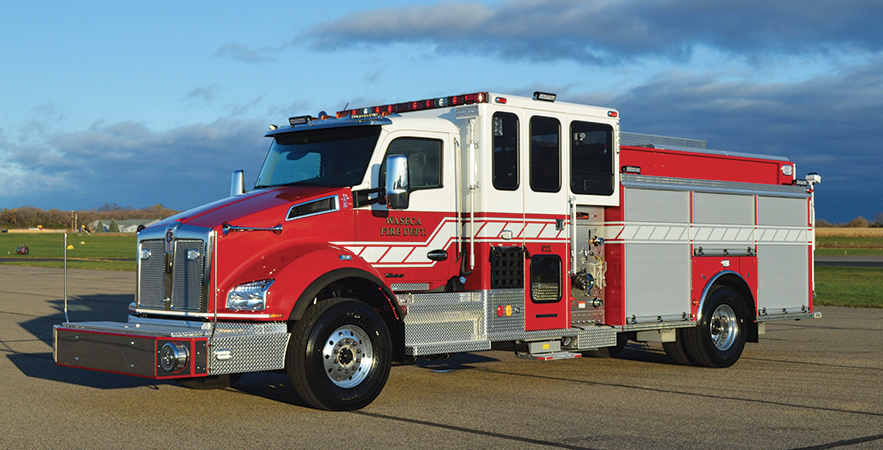 CustomFIRE—Waseca (MN) Fire Department Full Response™ pumper. Kenworth T880 cab and chassis; Paccar MX11 430-hp engine; Waterous CSUC20 2,000-gpm pump; UPF Poly 1,000-gallon water tank; 20-gallon foam cell; FoamPro 2001 single-agent foam system; front bumper extension with crosslay hosebed; aluminum hinged hosebed covers. Dealer: Wayde Kirvida, CustomFIRE, Osceola, WI.