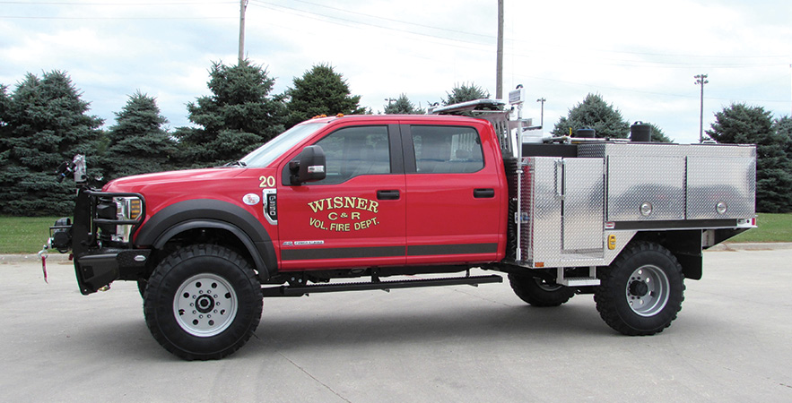 Danko—Wisner (NE) Volunteer Fire Department wildland unit. Ford F-550 cab and chassis; 6.8L 3-valve SOHC 305-hp engine; Waterous 2515LE 150-gpm @ 95-psi portable pump with 23-hp Kubota engine; UPF Poly 400-gallon water tank; 12-gallon foam cell; FoamPro 1600 Class A foam system; TFT EF1 monitor. Dealer: Mike Semerad, Danko Emergency Equipment, Snyder, NE.
