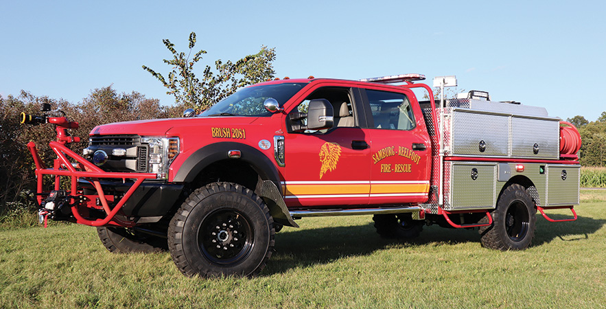 1st Attack Engineering—Samburg-Reelfoot Volunteer Fire Department, Hombeak, TN, brush rescue conversion. Ford F-550 cab and chassis; custom built bed from steel tubing; Darley 600-gpm @ 40-psi portable pump with Kubota 42-hp engine; APR 400-gallon polypropylene water tank; 5-gallon foam cell; Scotty around-the-pump foam system; Elkhart Sidewinder 8492 monitor. Dealer: Jeffrey Cook, 1st Attack Engineering, Waterloo, IN.
