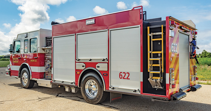 Spencer Manufacturing Inc. built this custom pumper for the Egelston (MI) Township Fire Department with a recessed ladder at the left rear side of the rig to access the top of the vehicle where there's a full-width walkway to allow for safely loading hose. (Photos 1-4 courtesy of Spencer Manufacturing Inc.)