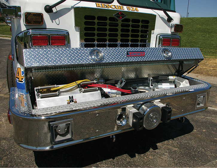 Some departments choose to outfit their rescue-pumper front bumpers with as much equipment as possible, like this one built by Summit Fire Apparatus that carries hydraulic rescue tools and two hydraulic hose reels in a full-width compartment. (Photos 5-7 courtesy of Summit Fire Apparatus.)