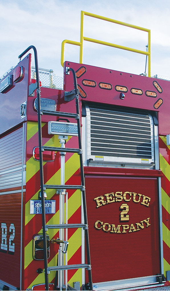 Summit Fire Apparatus installed a fall barrier at the top rear of this custom pumper built for the Winchester (KY) Fire Department.