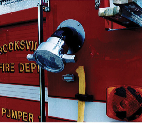 Summit installed a large-diameter intake on the rear of this custom pumper for the Brooksville (KY) Fire Department.