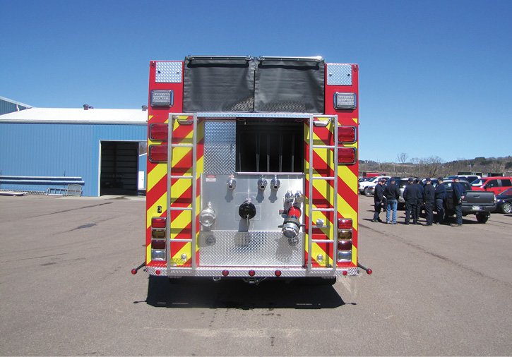 This rear-mount custom pumper built by 4 Guys Fire Trucks for the Ashville (PA) Volunteer Fire Company has two six-inch suction inlets at the rear. (Photo courtesy of 4 Guys Fire Trucks.)