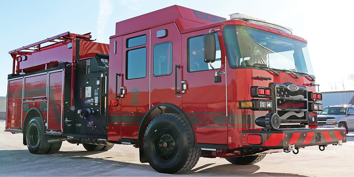 Blacked-out pump panels, wheels, bumpers, and rub rails are gaining in popularity as on this Pierce Manufacturing-built custom pumper for the Nimishillen (OH) Fire Department.