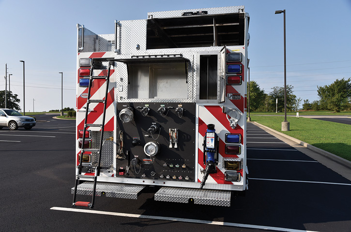 Precision Fire Apparatus built a custom pumper for the Antonia (MO) Fire Department that had an under 31 foot overall length limit yet still carries 1,000 gallons of water and sports a rear-mount pump, a pump panel in the R4 compartment, and a recessed Zico rear ladder. (Photos 12-14 courtesy of Precision Fire Apparatus.)