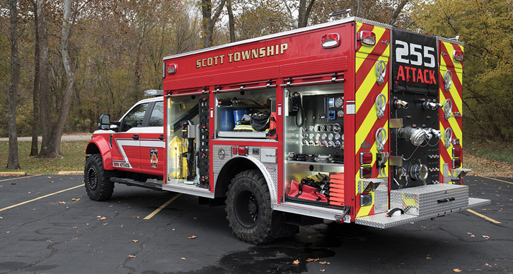 This small attack pumper built by Precision for the Scott Township (PA) Fire Department is on a Ford F-554 chassis where the front axle was upgraded to allow the truck to handle a 22,500-pound gross vehicle weight rating so it can carry a 1,350-gpm pump, 300 gallons of water, 30 gallons of foam, and an array of equipment.