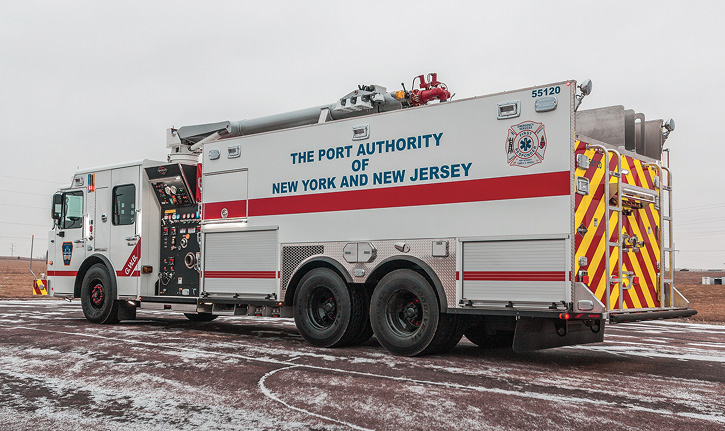 Spartan ER built this custom pumper for the Port Authority of New York and New Jersey with a 1,500-gpm pump, a 1,000-gallon water tank, a 2,000-gallon foam tank, a Purple K pressurized dry chemical system, and a 21-foot boom appliance that can be operated over median barriers inside tunnels. (Photo 15 courtesy of Spartan ER.)
