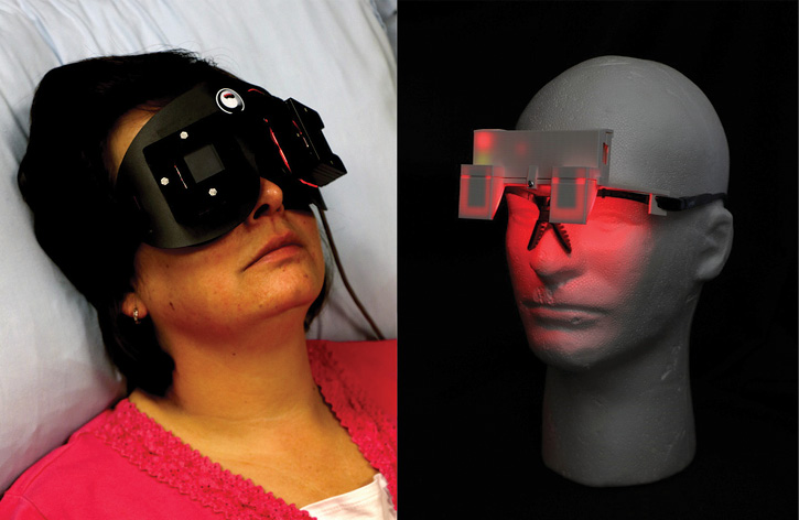 The Lighting Research Center at Rensselaer Polytechnic Institute developed a sleep mask that delivered red light through a subject's eyes during a sleep period, leading to the subjects awaking faster, more alert and less sleepy. (Photos 1-2 courtesy of Rensselaer Polytechnic Institute Lighting Research Center.)
