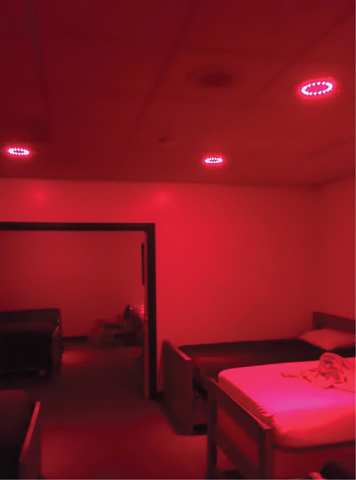 A firefighter's dorm room alerted with red lights controlled by the USDD Phoenix G2 station alerting system. (Photos 3-5 courtesy of US Digital Designs.)