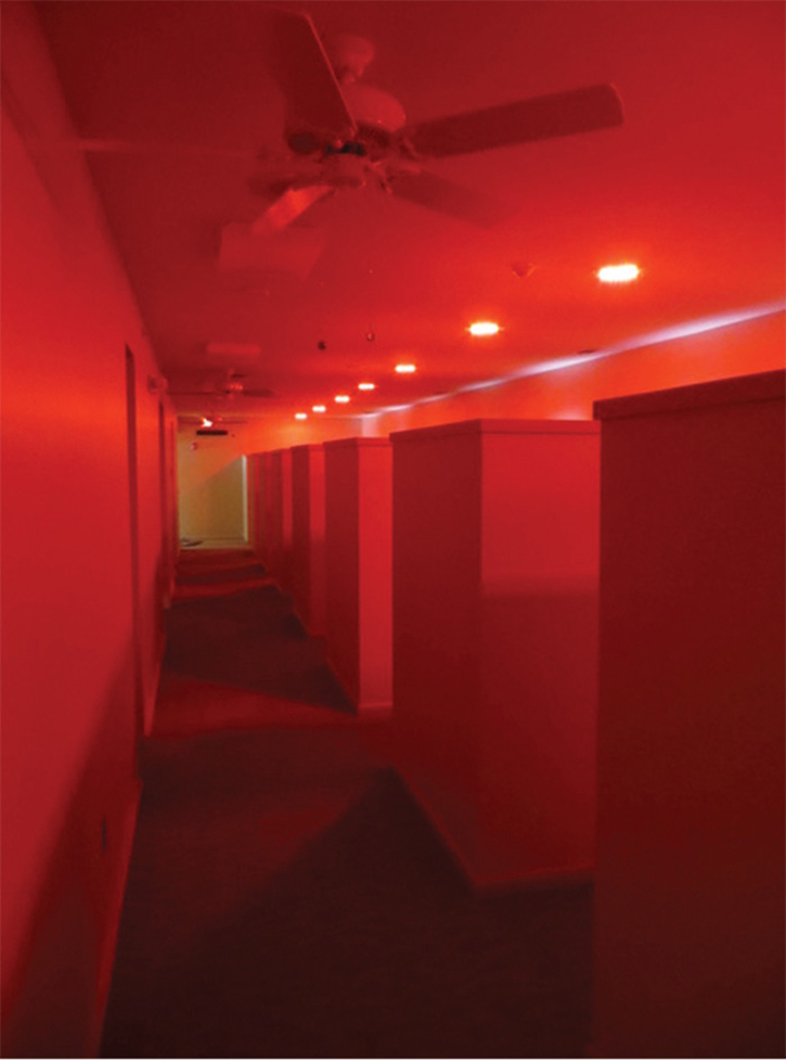 Hallways and corridors leading to the apparatus bays also are illuminated by red lighting controlled by the Phoenix G2 system.