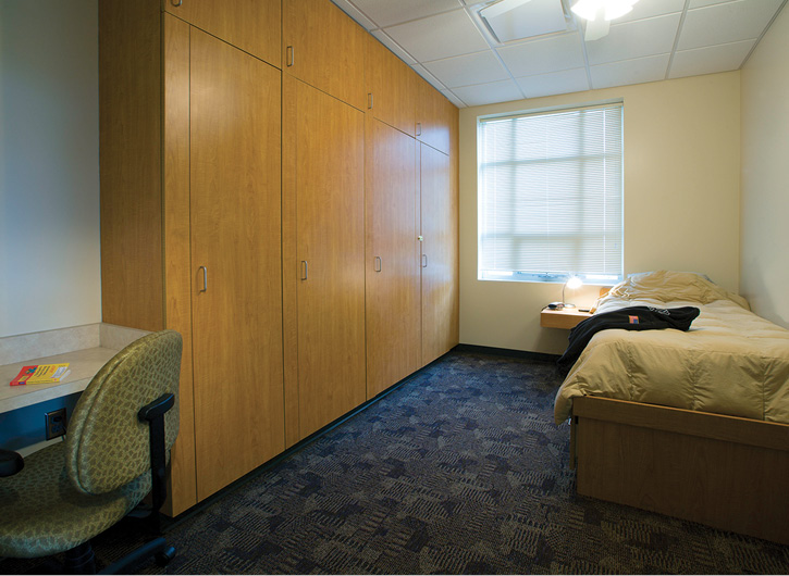 Single-occupant bunk rooms, like this one designed by Stewart-Cooper-Newell Architects, allow the best opportunity for undisturbed sleep, especially with blackout shades on the windows to allow for daytime sleeping when necessary. (Photos 7-8 courtesy of Stewart-Cooper-Newell Architects.)