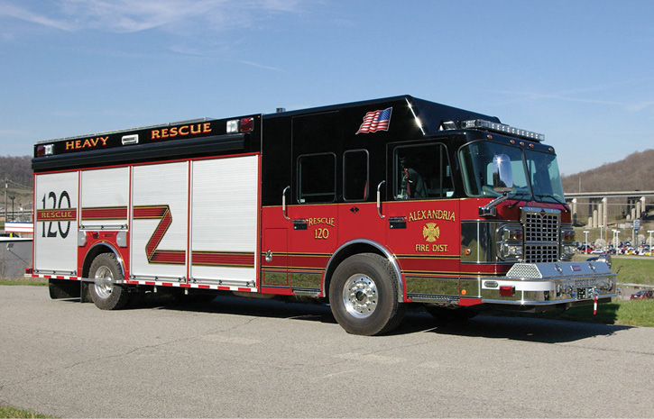 Summit Fire Apparatus built a wet rescue on a custom heavy rescue chassis for the Alexandria (KY) Fire Department that has a slide-in CAFS in one of its compartments. (Photo 1 courtesy of Summit Fire Apparatus.)