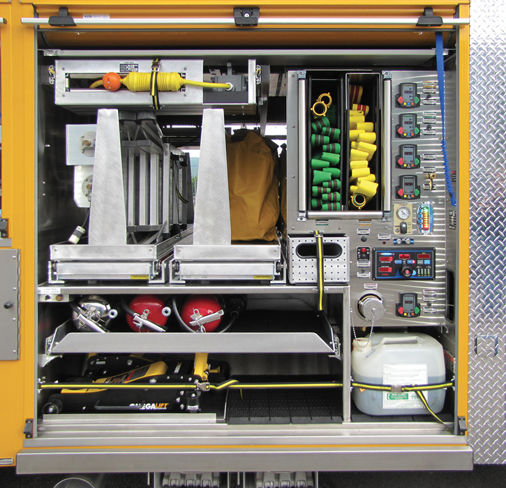 This is the pump panel in the front of the R1 compartment on a 4 Guys-built wet rescue for the West Bradford (PA) Fire Department that has a Hale CBP PTO-driven 250-gpm pump, a 300-gallon water tank, and two speedlays.