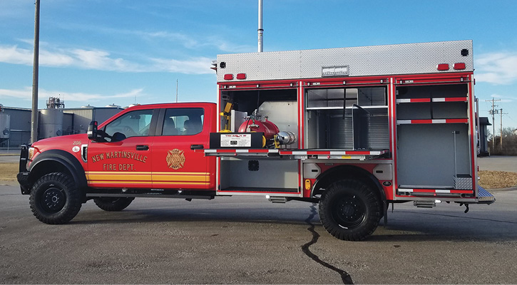 For the New Martinsville (WV) Fire Department, Unruh Fire built a wet rescue on a Ford F-550 4×4 chassis with a three-inch lift kit for Super Single wheels and tires and carrying a Tri-Max 20 CAFS unit.