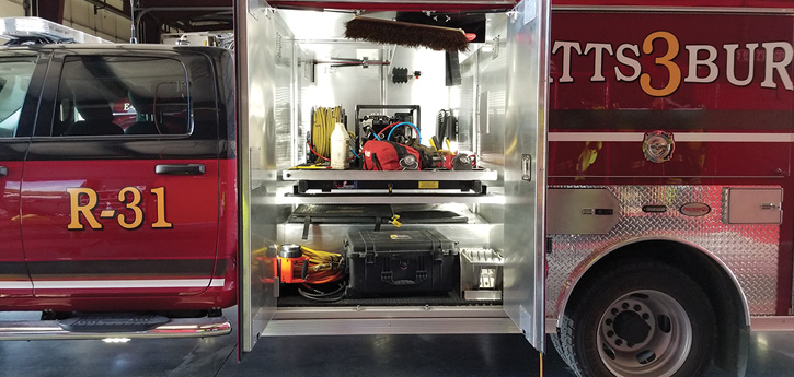 Precision Fire Apparatus built this wet rescue for the Plattsburg (MO) Fire Department on a Dodge chassis with a 200-gallon water tank, a CAFS unit, and a full transverse compartment behind the cab. (Photo 6 courtesy of Precision Fire Apparatus.)