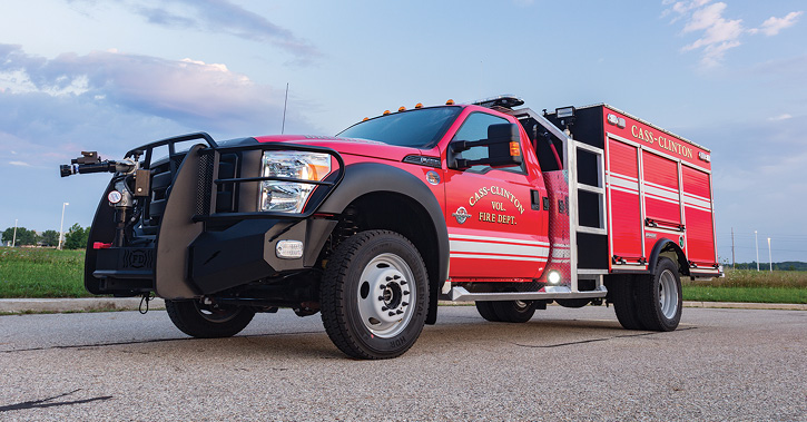 Spencer Manufacturing Inc. built a wet rescue for the Cass-Clinton (MI) Volunteer Fire Department on a Ford F-550 chassis with a 380-gpm Darley pump, and a 300-gallon water tank. (Photos 7-8 courtesy of Spencer Manufacturing Inc.)