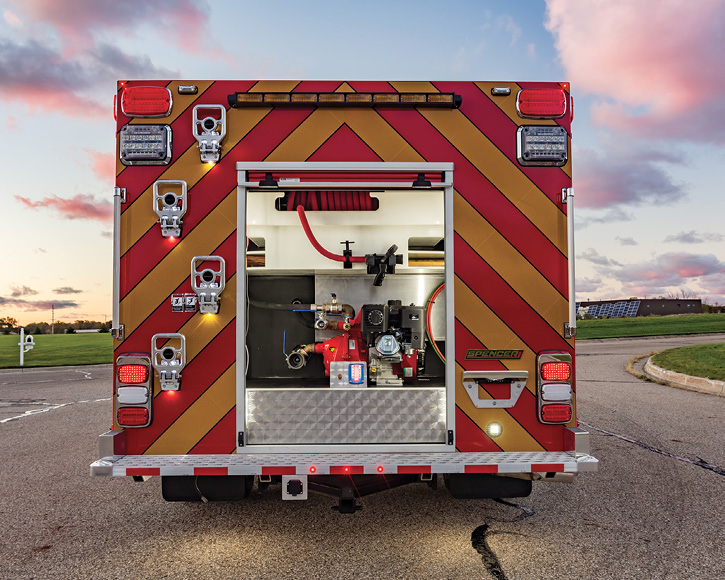 Spencer built a wet rescue for the Hopkins (MI) Fire Department on a Ford F-550 chassis and crew cab with a Darley Davey 13-hp Briggs & Stratton pump, a 275-gallon water tank, and all three compartments fully transverse.