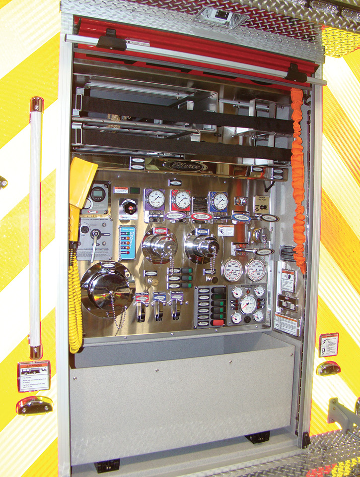For the Evesham (NJ) Fire Department, Pierce Manufacturing is building a wet rescue on a Velocity tandem-rear-axle chassis and combination body, with a Hale 500-gpm hydraulically driven pump in the rear compartment.