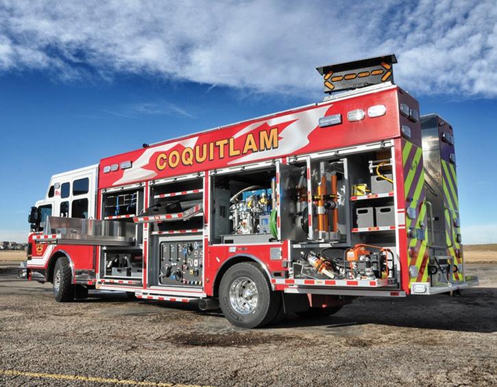 Coquitlam (BC) Fire Rescue had SVI Trucks put a Waterous CX 750-gpm pump, a 300-gallon water tank, a 10-gallon foam cell, and an Advantus 3 foam system on its heavy rescue truck. (Photos 12-13 courtesy of SVI Trucks.)