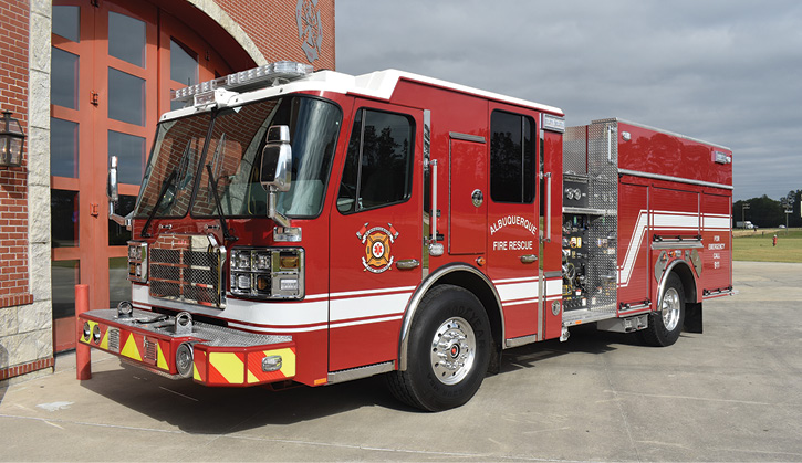 Ferrara Fire Apparatus built this clean cab custom pumper for Albuquerque (NM) Fire Rescue on an Inferno chassis and XD 100 LFD cab with seating for five firefighters. (Photos 1-6 courtesy of Ferrara Fire Apparatus.)