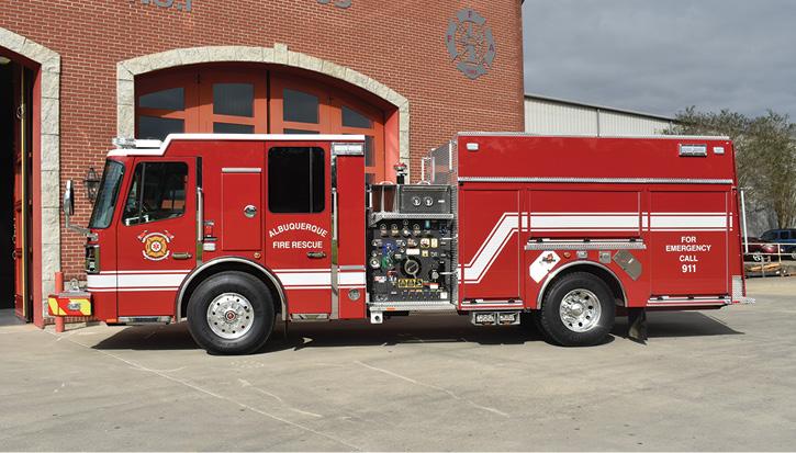 The pumper has a Waterous CSU 2,000-gpm side-mount pump, a 500-gallon water tank, and a 20-gallon Class A foam tank.