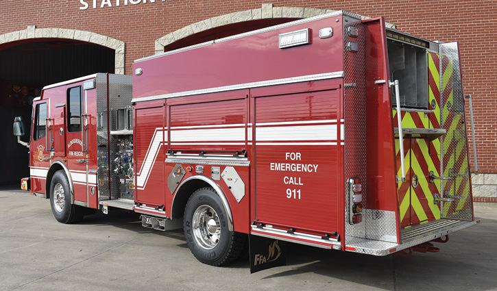 The pumper has a wheelbase of 184 inches and is powered by a 500-hp Cummins ISX 15 diesel engine and an Allison 4500 EVS automatic transmission.
