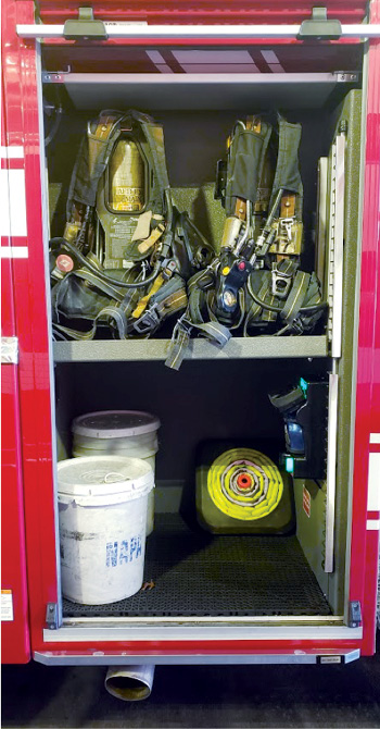 Since Albuquerque went with a clean cab concept with its new Ferrara pumper, it moved the crew's SCBA to the L1 and R1 (shown) compartments to get them out of the crew cab. [Photos 7-8 courtesy of Albuquerque (NM) Fire Rescue.]