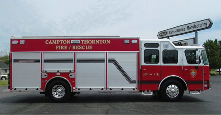 Campton, New Hampshire, took delivery of this unique E-ONE Typhoon nonwalk-in heavy rescue. It features a stainless-steel body, CAFS module, raised cab roof, and shutter doors.